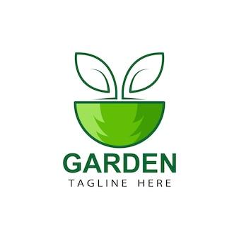 Vetor de design de modelo de logotipo de jardim ecológico de árvore