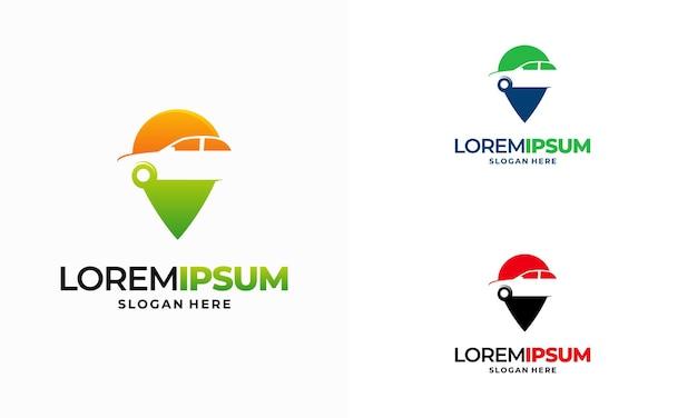 Vetor de design de modelo de logotipo de loja de automóveis, vetor de design de modelo de logotipo de localizador de pontos de carro