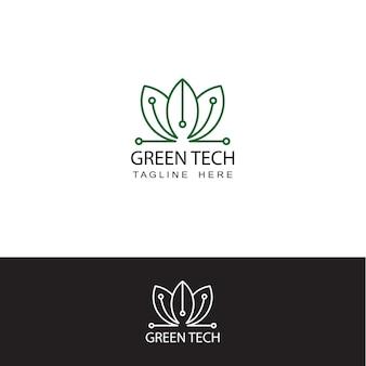 Vetor de design de modelo de logotipo de tecnologia ecológica verde