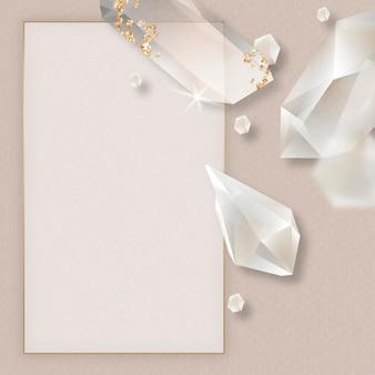 Vetor de design de moldura de cristal retangular