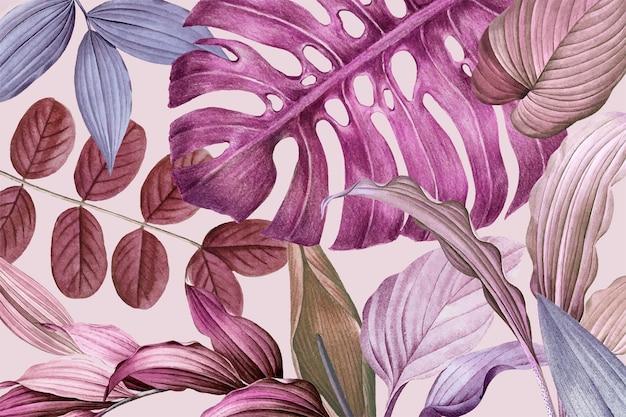 Vetor de design de moldura de folhas roxas