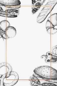 Vetor de design de moldura de junk food em branco