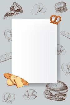 Vetor de design de moldura de pão em branco