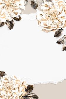 Vetor de design de moldura de peônia floral