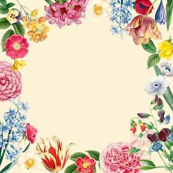 Vetor de design de moldura floral em branco