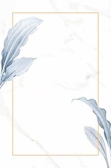 Vetor de design de moldura retangular folhosa