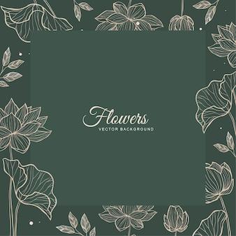 Vetor de design de moldura verde floral para modelo de convite de casamento