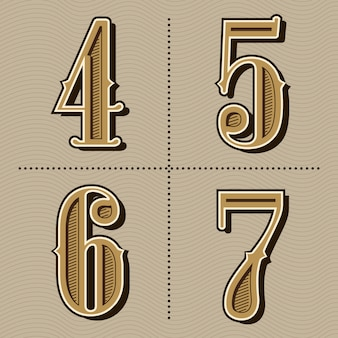 Vetor de design de números do alfabeto ocidental letras vintage