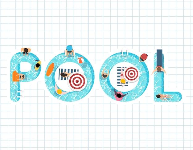 Vetor de design de sensação de verão com a piscina de palavra