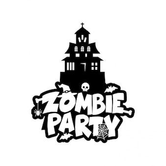 Vetor de design de tipografia de festa zumbi