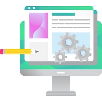 Vetor de design de web de ícone de construção de site isolado