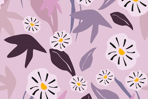 Vetor de design estético de fundo de flor padrão sem emenda