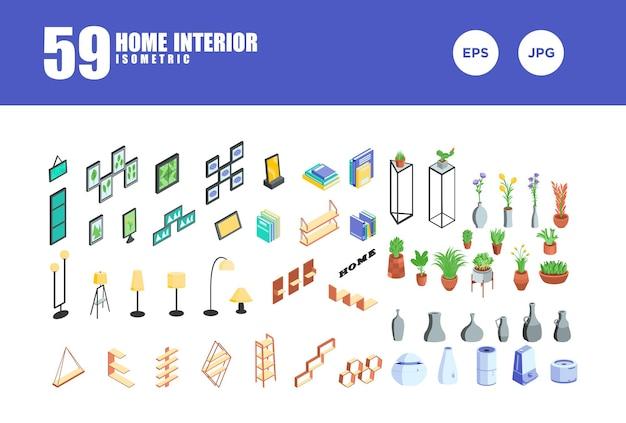 Vetor de design isométrico de interiores para casa