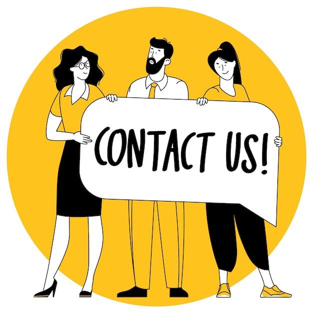 Vetor de design plano entre em contato conosco conceito de página.