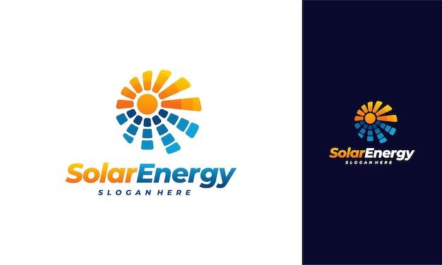 Vetor de designs de logotipo de energia solar, logotipo de energia solar