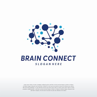 Vetor de designs de logotipo do brain connect, símbolo do logotipo da tecnologia brain