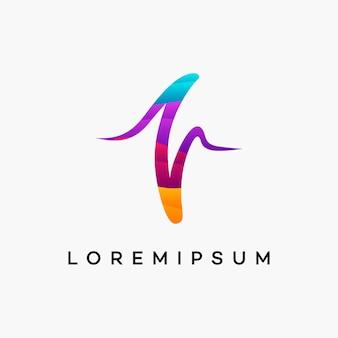Vetor de designs de logotipo moderno wavy pulse healthcare Vetor Premium