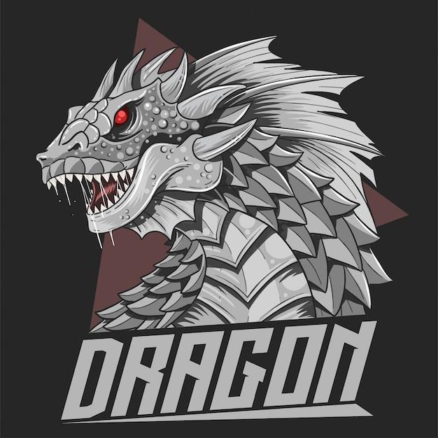 Vetor de detalhe de cabeça de dragão de prata impressionante