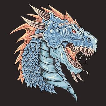 Vetor de detalhe de cabeça de dragão