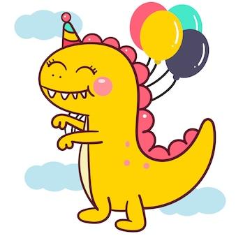 Vetor de dinossauro bonito com desenhos animados de balão