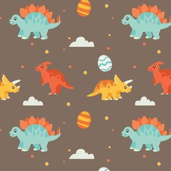 Vetor de dinossauros de padrão kawaii fofo