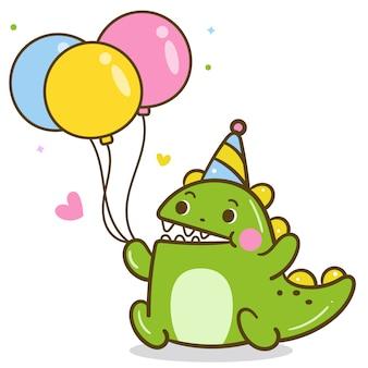 Vetor de dinossauros fofos segurando balão de festa
