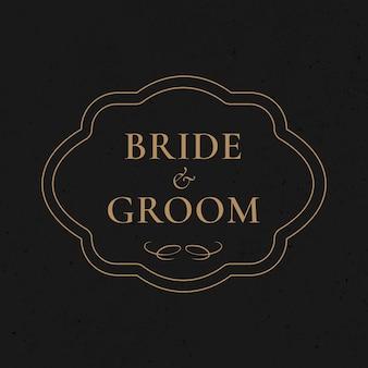 Vetor de distintivo de casamento dourado estilo vintage ornamental