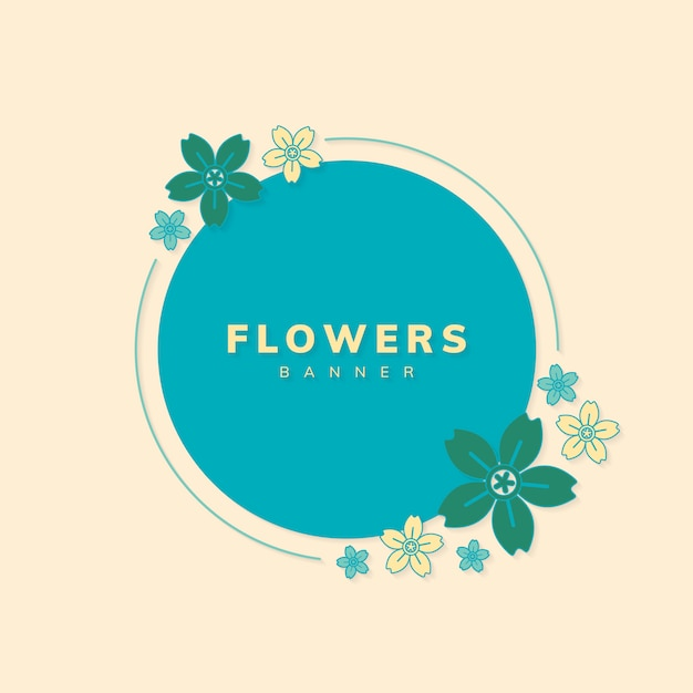 Vetor de distintivo de flor redonda primavera