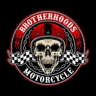 Vetor de distintivo de motociclistas de caveira