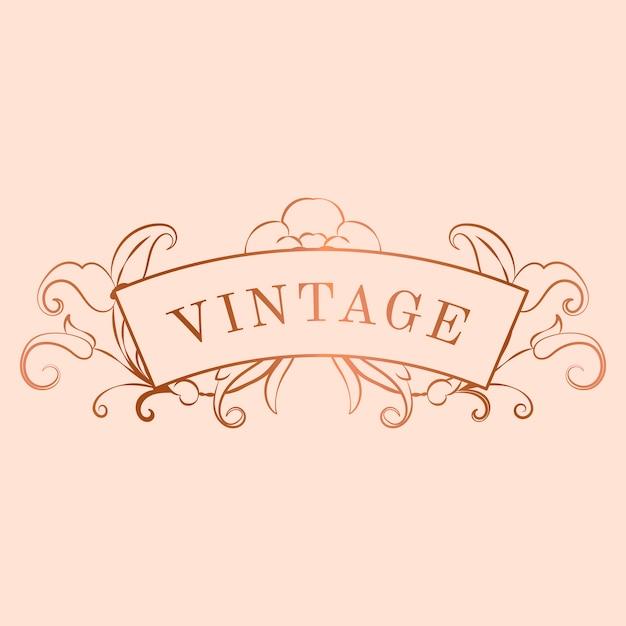 Vetor de distintivo de nouveau art nouveau ouro rosa vintage