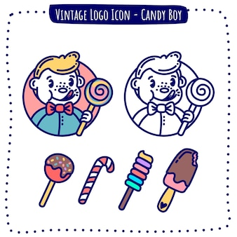 Vetor de doce de ícone de logotipo vintage