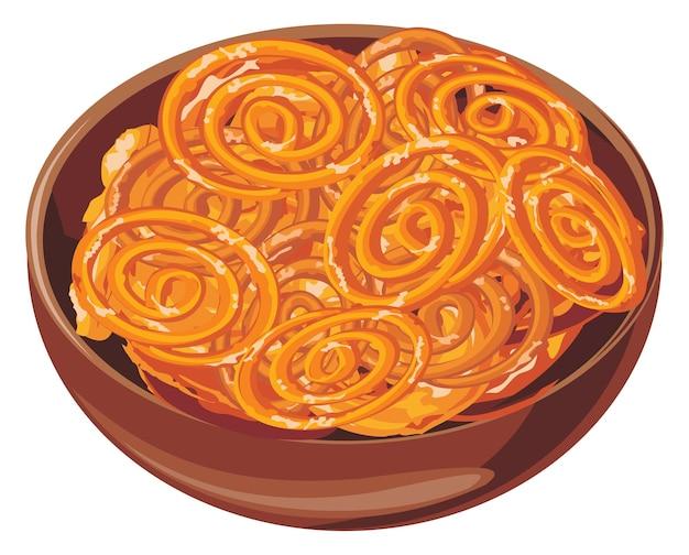 Vetor de doce indiano chamado jalebi jilbi ou imarati servido em uma tigela de madeira