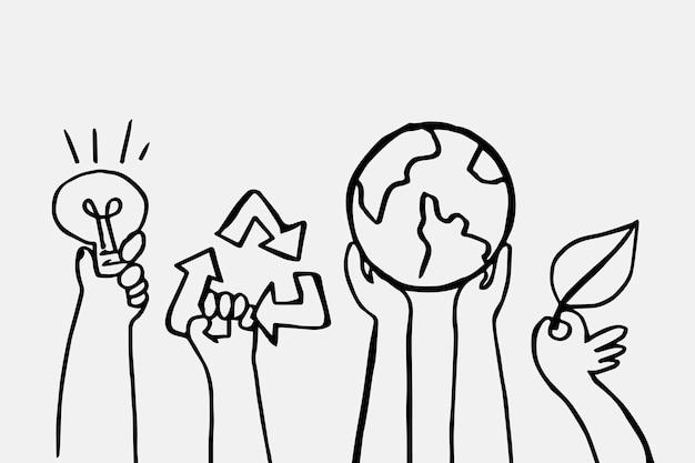 Vetor de doodle de ambiente, conceito de energia renovável