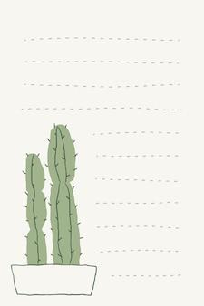 Vetor de doodle de cacto em vaso e fundo de nota alinhado