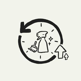 Vetor de doodle de higiene de desinfecção, ciclo de limpeza nova ilustração normal