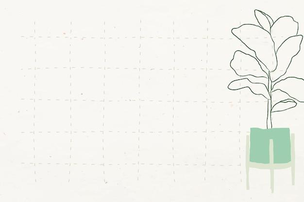Vetor de doodle de planta simples em fundo de grade