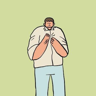 Vetor de doodle de síndrome de escritório, personagem de mão desenhada de conceito de saúde de dor no pulso