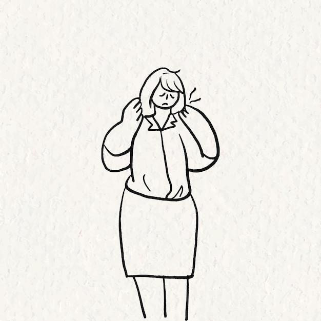 Vetor de doodle de síndrome de escritório, personagem desenhado de mão de dor de pescoço