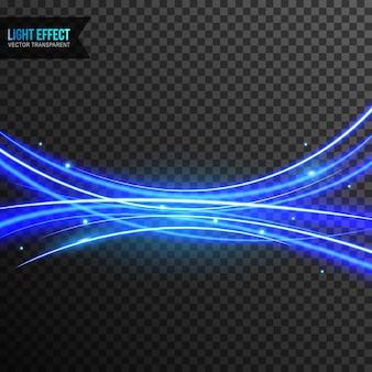 Vetor de efeito de luz azul transparente com redemoinho de linha