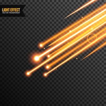 Vetor de efeito de luz transparente com brilhos dourados