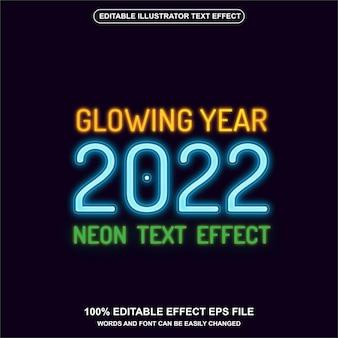 Vetor de efeito de texto em néon brilhante ano 2022