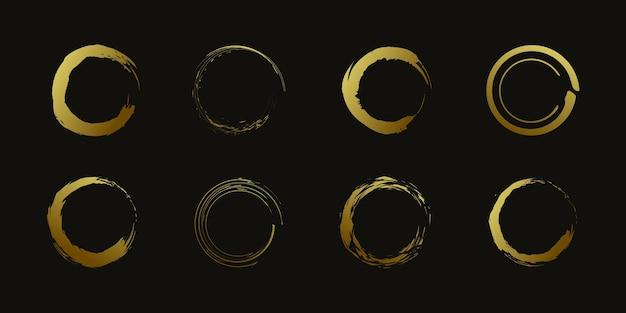 Vetor de elemento círculo pincel com forma dourada criativa premium vector parte 1