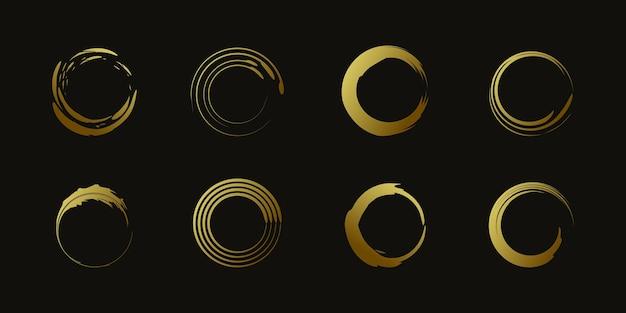 Vetor de elemento círculo pincel com forma dourada criativa premium vector parte 2
