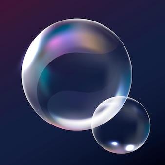 Vetor de elemento de bolha transparente em fundo marinho