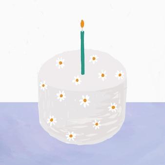 Vetor de elemento de bolo de aniversário branco bonito estilo desenhado à mão