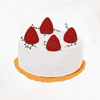 Vetor de elemento de bolo de morango com estilo bonito desenhado à mão