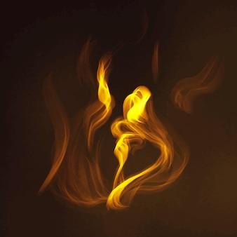 Vetor de elemento de chama de fogo em fundo preto