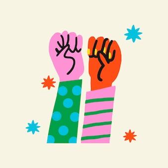 Vetor de elemento de colagem de adesivo de solidariedade de mãos levantadas, conceito de empoderamento