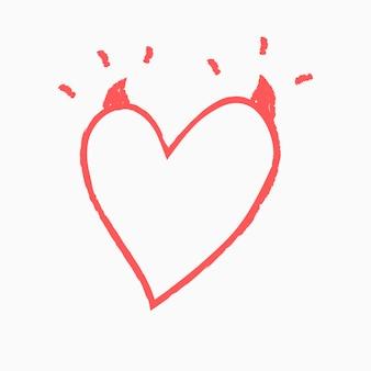 Vetor de elemento de coração diabólico em estilo doodle
