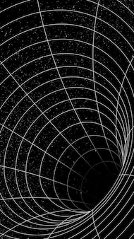 Vetor de elemento de design de ilusão de buraco de minhoca grade 3d
